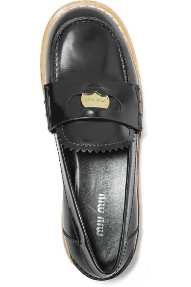 Miu Miu Glossed leather loafers 0s6c2BK