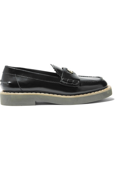 Miu Miu - Embellished Glossed-leather Loafers - Black