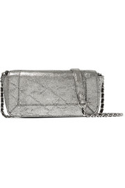 Bob metallic textured-leather shoulder bag