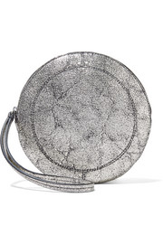 Popoche O metallic cracked-leather clutch