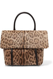 Jérôme Dreyfuss Jeremie leather-trimmed leopard-print calf hair shoulder bag