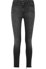 Mother Looker frayed high-rise skinny jeans