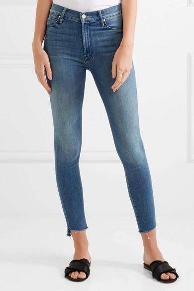 Mother The Stunner verkürzte, halbhohe Skinny Jeans mit gefranstem Saum