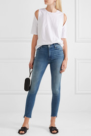 The Stunner cropped frayed mid-rise skinny jeans
