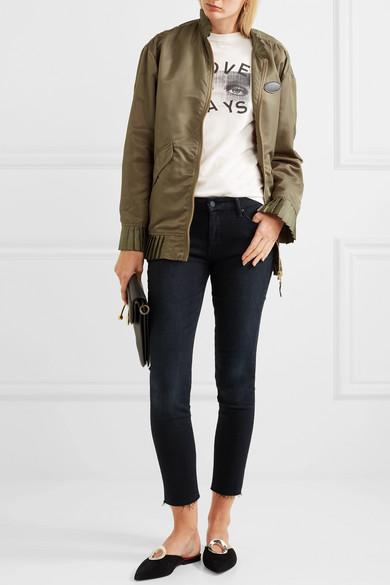 Mother Looker hoch sitzende Skinny Jeans mit Fransen