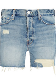 Mother The Proper distressed high-rise denim shorts