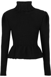 Wool turtleneck peplum sweater