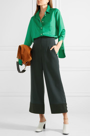 Oversized pintucked silk crepe de chine shirt