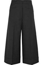 Cropped wool-twill wide-leg pants