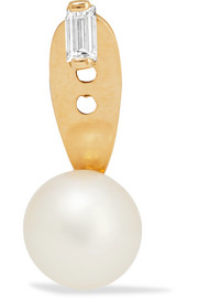 18-karat gold, diamond and pearl earring