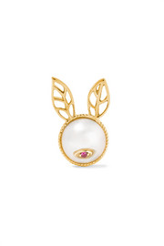 18-karat gold, pearl and ruby earring
