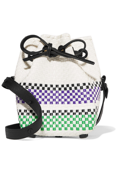 Mini striped woven raffia-effect bucket bag