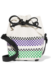 Truss Mini striped woven raffia-effect bucket bag