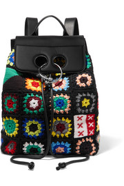 J.W.Anderson Pierce crocheted wool, cotton-canvas and leather backpack