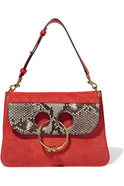 J.W.Anderson Pierce python-trimmed suede shoulder bag