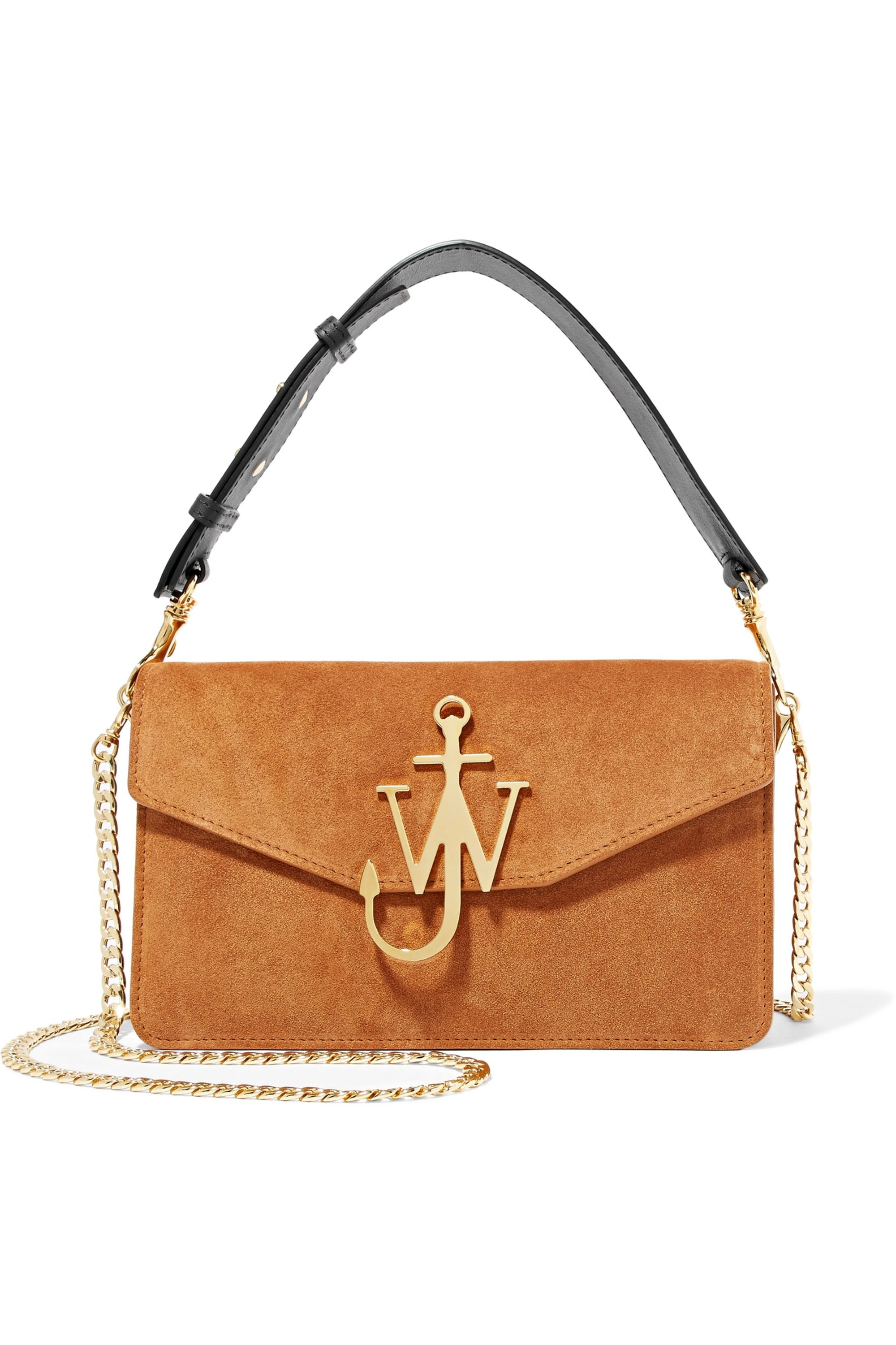 JW Anderson Logo leather-trimmed suede shoulder bag