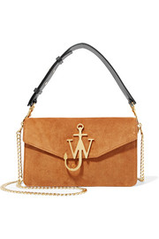 J.W.Anderson Logo leather-trimmed suede shoulder bag