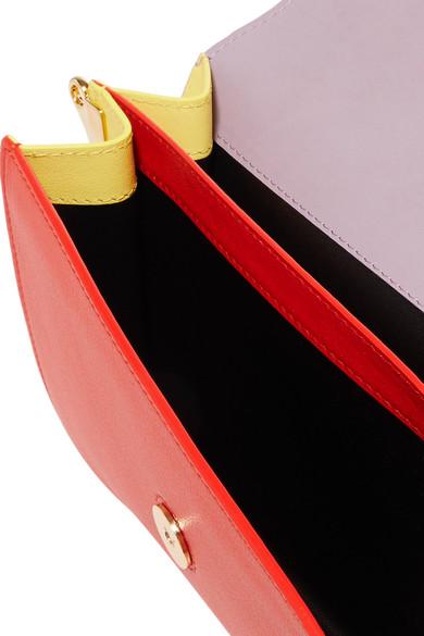 Jw anderson logo color block textured leather shoulder for Net a porter logo