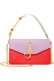 Logo color-block textured-leather shoulder bag