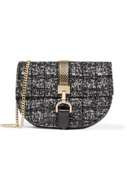 Lanvin Lien chain-trimmed bouclé and leather shoulder bag