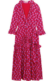 Ines ruffled floral-print crepe de chine midi dress