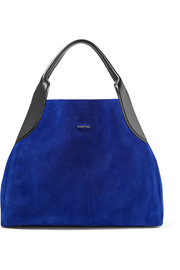 Lanvin Cabas leather-trimmed suede shoulder bag