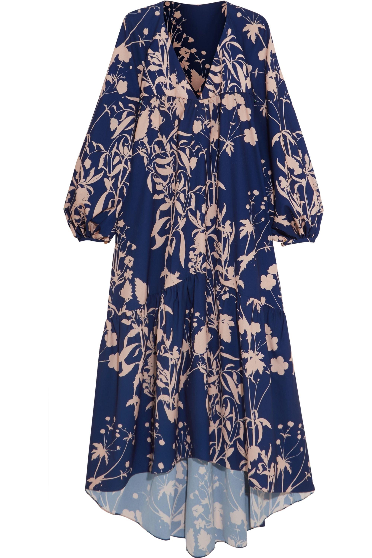 Borgo de Nor Matilde asymmetric printed crepe de chine dress