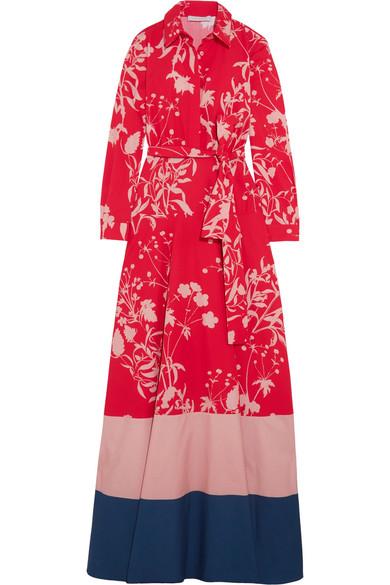 Borgo De Nor - Carolina Printed Cotton-poplin Maxi Dress - Red
