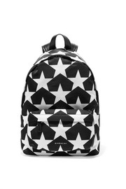Leather-trimmed printed shell backpack