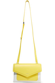 Duetto two-tone smooth and textured-leather shoulder bag