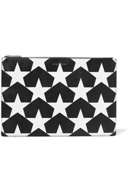 Star-print textured-leather pouch