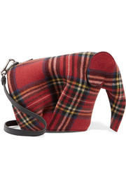 Elephant tartan felt and leather shoulder bag