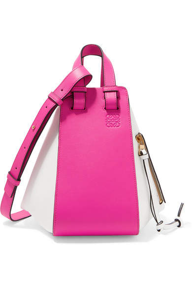 Pink/White Hammock Small Two-Tone Leather Shoulder Bag