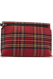 Loewe T leather and tartan felt pouch