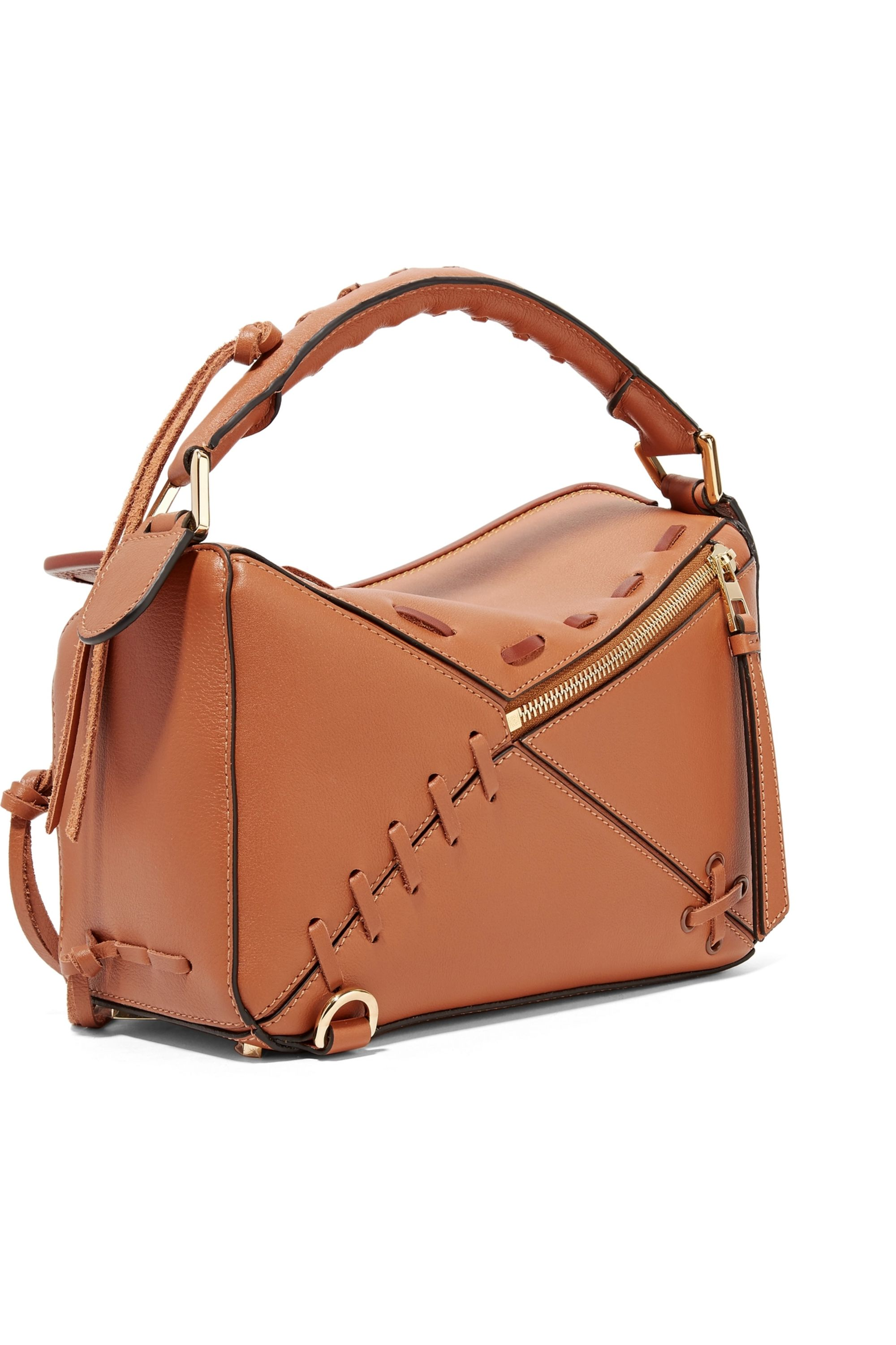 Loewe Puzzle small whipstitched textured-leather shoulder bag
