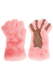 Leather-trimmed shearling gloves