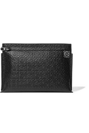 T embossed leather pouch
