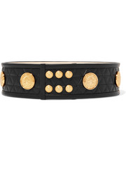 Embellished quilted leather belt