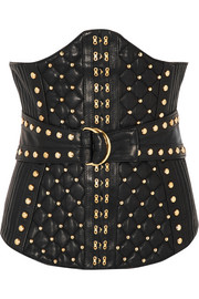 Studded quited leather corset