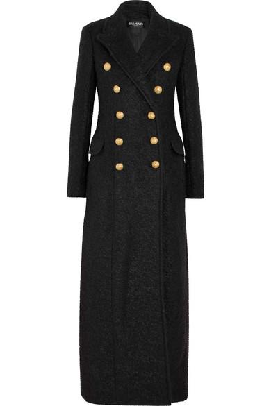 Balmain - Double-breasted Mohair-blend Bouclé Coat - Black