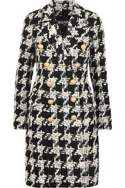 Balmain Houndstooth wool-blend tweed coat