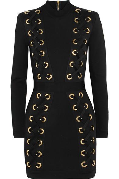 ff9fe62387f2 Balmain. Lace-up stretch-jersey mini dress