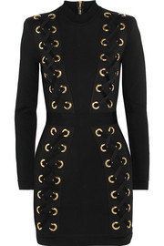 Balmain Lace-up stretch-jersey mini dress