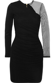 Balmain Tulle-paneled stretch-jersey mini dress
