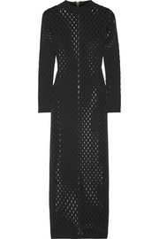 Balmain Perforated stretch-knit maxi dress