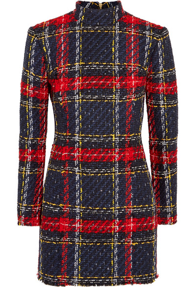 Balmain - Tartan Tweed Mini Dress - Red