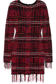 Balmain Frayed checked tweed mini dress