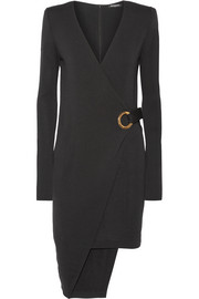 Balmain Asymmetric wool wrap mini dress