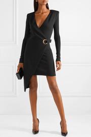 BalmainAsymmetric wool wrap mini dress