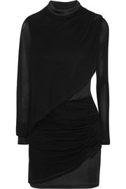 Balmain Ruched chiffon-paneled jersey mini dress